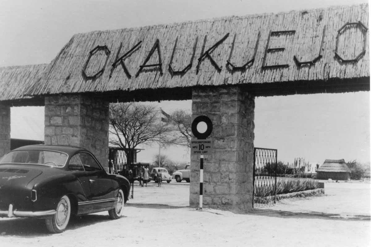 The Okaukuejo gate in the early days